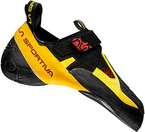 La Sportiva Skwama Rock Climbing Shoe, Black/Yellow, 34 M EU