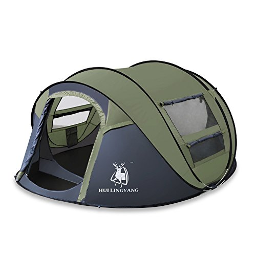 ADIPIN HUI LINGYANG Pop Up Tent with Sky-Window, Automatic and Instant Setup, Sun Shelter,3-4 Person,Ideal Shelter for Casual Family Camping(Army Green)