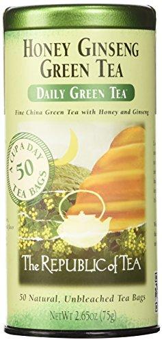 The Republic of Tea Honey Ginseng Green Tea, Caffeinated (50 Tea Bags)