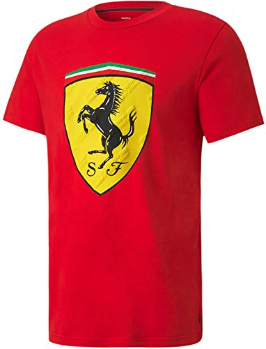 PUMA Formula 1 Scuderia Ferrari Men's Race Big Shield Tee+, Rosso Corsa, S