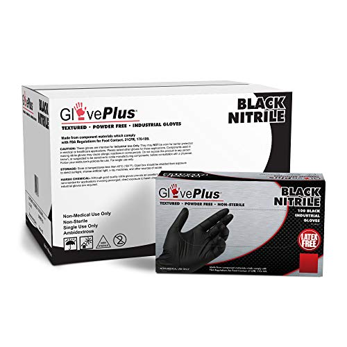 GLOVEPLUS Industrial Black NitrileGloves, Case of 1000, 5 mil, Size Large, Latex Free, Powder Free, Textured, Disposable,GPNB46100