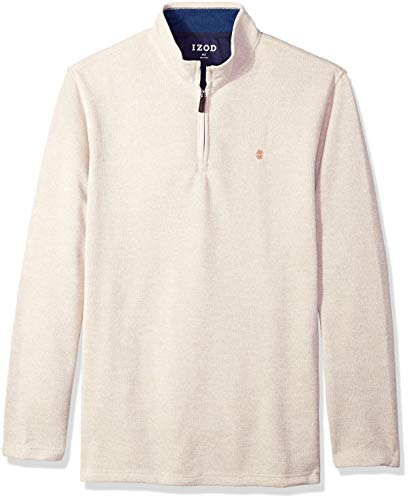 IZOD Men's Big and Tall Saltwater Solid 1/4 Zip Sweater, Rock Heather, X-Large Tall