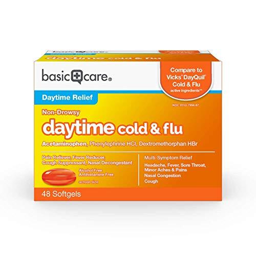 Amazon Basic Care Daytime Cold & Flu Liquid Caps; Cold Care for Daytime Cold and Flu, 48 Count