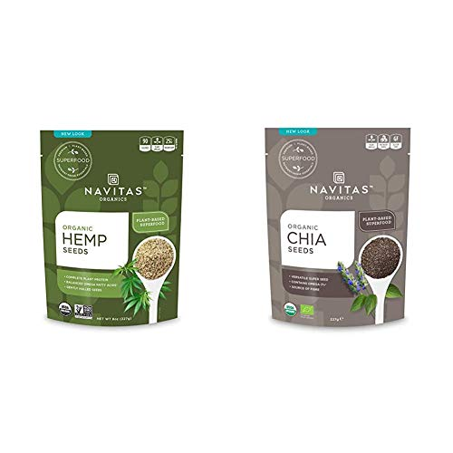 Navitas Organics Hemp Seeds, 8 oz. Bag — Organic, Non-GMO, Low Temp-Hulled, Gluten-Free & Chia Seeds, 8 oz. Bag — Organic, Non-GMO, Gluten-Free