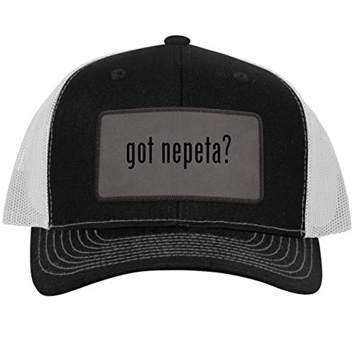 got Nepeta? - Leather Grey Patch Engraved Trucker Hat, Black-White, One Size