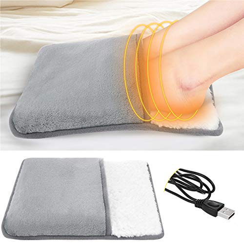 Heating Pad, USB Electric Heating Pad Feet Warm Slippers Winter Hand/Foot Warmer Washable,Heated Foot Warmer Cushion Plush Foot Heater Electric Heating Pad Office (Foot Warmer)