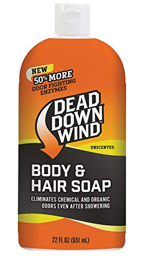 Dead Down Wind Body & Hair Soap | 22 oz Bottle | Unscented | Odor Eliminator, Hunting Accessories | Gentle Body Wash & Shampoo for Hunting | Safe for Sensitive Skin