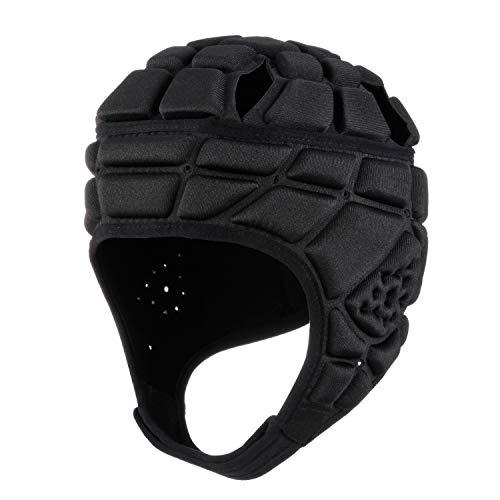 Surlim Rugby Helmet Headguard Headgear for Soccer Scrum Cap Soft Protective Helmet for Kids Youth Black Medium