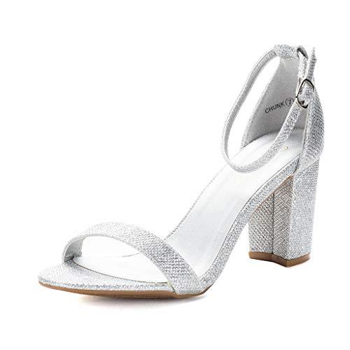 DREAM PAIRS Women's Chunk Silver Glitter Low Heel Pump Sandals - 7.5 M US