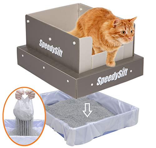 SpeedySift Cat Litter Box with Disposable Sifting Liners, 11' Corrugated Plastic Board High Sides, Large