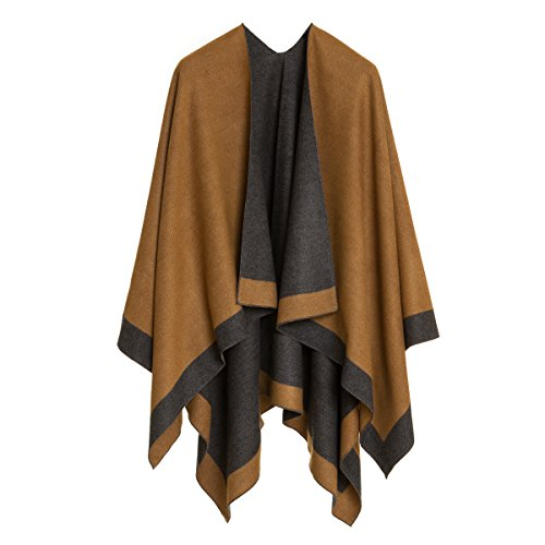 MELIFLUOS DESIGNED IN SPAIN Women's Shawl Wrap Poncho Ruana Cape Cardigan Sweater Open Front for Fall Winter (PC01-4D-II)