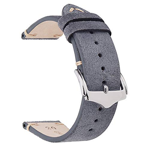 Leather Watch Bands 20mm for Men EACHE Vintage Watch Straps Grey for Women Suede Leather Replacement Watchband