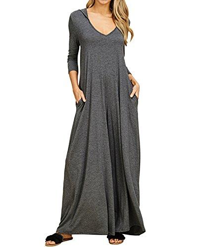 Jacansi Womens Loose Home Dress Plus Size Long Dresses Long Maxi Dress with Pockets (001-Dark Gray, 2XL)
