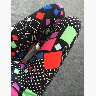 JINSUO ZLJUS CUHAKCI Printing Leggins Plus Size Legging Legging Women Fitness Pants Elasticity Floral Printed Legging (Color : K090 Tetris, Size : XXL)