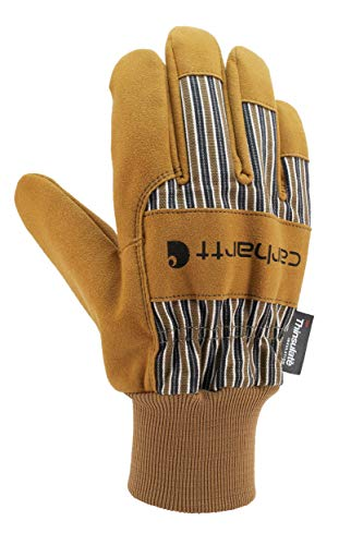 Carhartt Men's Insulated System 5 Suede Work Glove with Knit Cuff, Brown, Large