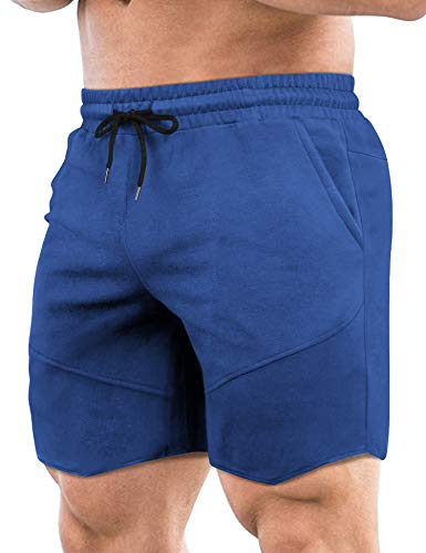 COOFANDY Men's Workout Gym Shorts Weightlifting Bodybuilding Squatting Fitness Jogger with Pockets Blue