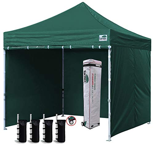 Eurmax 10'x10' Ez Pop-up Canopy Tent Commercial Instant Canopies with 4 Removable Zipper End Side Walls and Roller Bag, Bonus 4 SandBags (Forest Green)