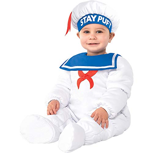 Party City Padded Stay Puft Marshmallow Man Halloween Costume for Babies, Ghostbusters, 12-24 Months, with Accessories