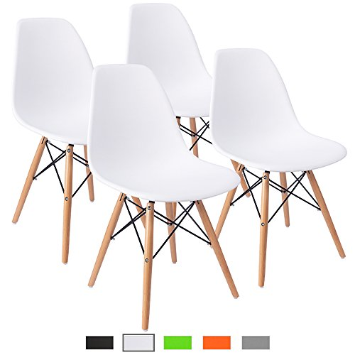 Furmax Pre Assembled Modern Style Dining Chair Mid Century Modern DSW Chair, Shell Lounge Plastic Chair for Kitchen, Dining, Bedroom, Living Room Side Chairs Set of 4(White)