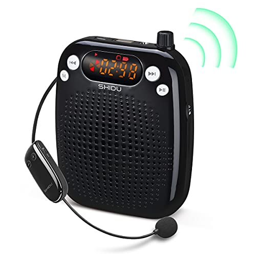 SHIDU Voice Amplifier with UHF Wireless Microphone Headset, Support MP3 Play 10W 2000mAh Portable Wearable Rechargeable PA system for Speaker Classroom, Meetings, Promotions and Outdoors