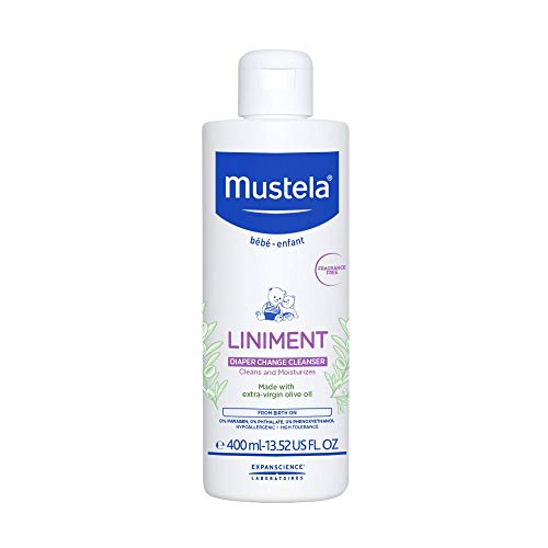 Mustela Liniment - No-Rinse Baby Cleanser for Diaper Change - with Extra Virgin Olive Oil - Fragrance-Free - 13.52 fl. Oz
