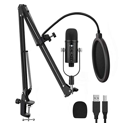 USB Microphone Kit for Computer, Cardioid Condenser Mic for Gaming, Podcast, Recording, Streaming, Zoom on PC/Mac/Laptop. Noise Cancelling Desktop Microfono, Mute Button, Plug & Play, Headphone Jack