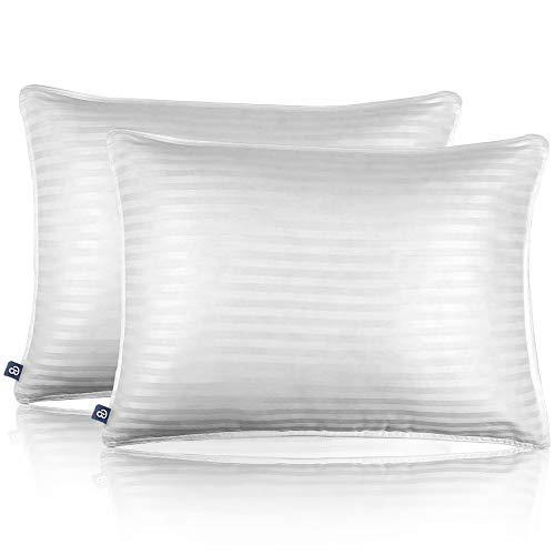 Bare Home Luxury Plush Down Alternative Pillows - Fiber Fill - Hypoallergenic – Striped & Soft 100% Cotton Cover - Standard, 20 x 26 – 2-Pack
