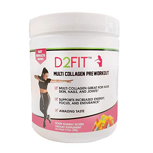 D2Fit (by Jessica Bass) Women's Pre Workout Multi Collagen (2,500mg) + Biotin (150mcg) - Great for Healthy Hair, Skin & Nails, Supports Increased Energy, Focus & Endurance