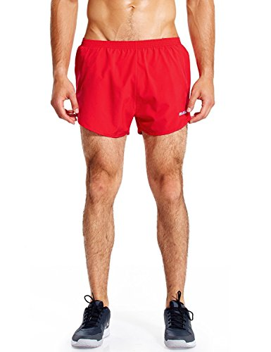 BALEAF Men's 3 Inches Running Shorts Quick Dry Gym Athletic Shorts Red Size M
