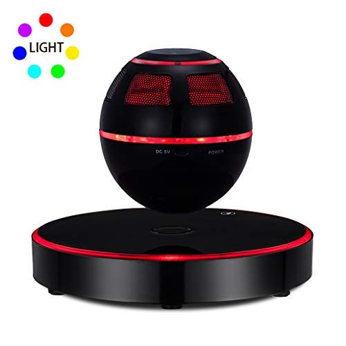 Levitating Speaker, ESOTICA Floating Speaker with Bluetooth 4.1, 360 Degree Rotation, Touch Control Button and Colorful LED Flashing Show Magnetic (Black)