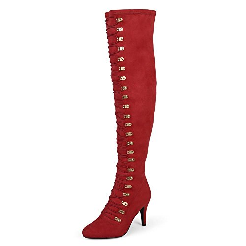 Brinley Co. Womens Regular and Wide Calf Vintage Almond Toe Over-The-Knee Boots Red, 12 Wide Calf US