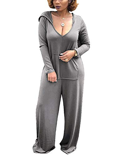 BONESUN Women Long Sleeve Hooded Jumpsuit Casual Loose Playsuit Rompers with Pocket Gray S