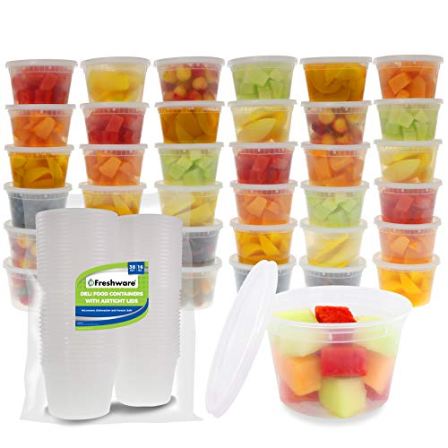 Freshware Food Storage Containers [36 Set] 16 oz Plastic Deli Containers with Lids, Slime, Soup, Meal Prep Containers | BPA Free | Stackable | Leakproof | Microwave/Dishwasher/Freezer Safe