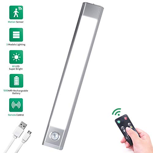 Remote Control Closet Light Motion Activated, USB Rechargeable Battery Powered Under Cabinet Light Motion Sensor, Wireless Cupboard LED Lights with 3 Mode Lighting Warm White, Cold White and White
