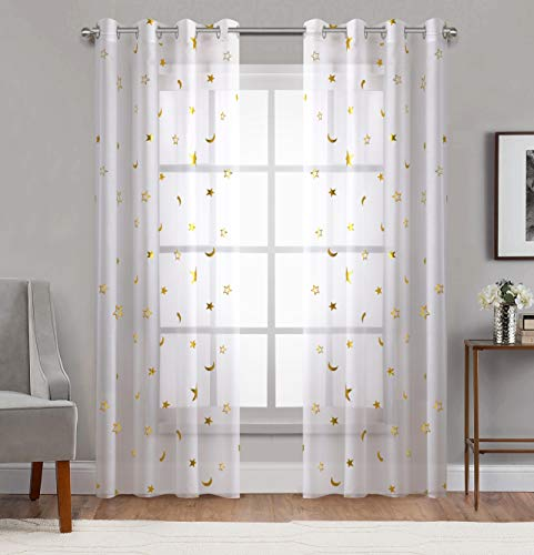 Home Fashion Sheer Curtains Grommets Top Romantic Gold Star Foil Print Window Treatment for Girl Bedroom Glitter Stars Thin and Soft Curtains Panel for Kids Room 54' Wide by 84' Long Set of 2