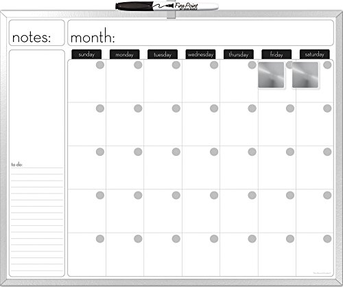The Board Dudes Dry Erase Calendar Aluminium Frame 20x16