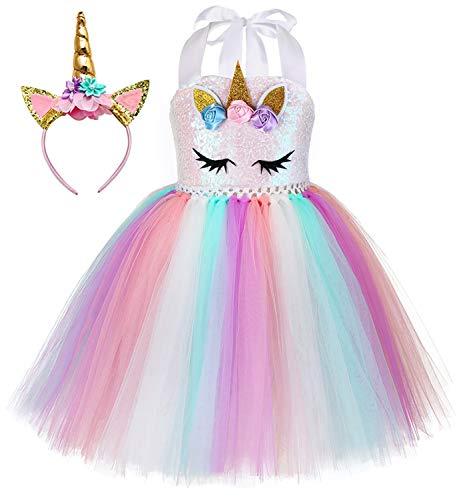 Tutu Dreams Unicorn Dress for Girls Rainbow Pink Tutu Birthday Unicorn Outfit Gifts Holiday Tea Party Unicorn Favors Supplies (Sequin Unicorn, 5-6 Years)