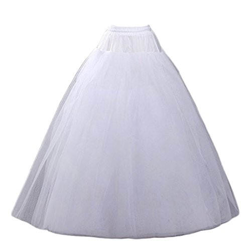 CEZOM A-line Hoopless Petticoat Crinoline Underskirt Slips Wedding Accessories MPT022 White