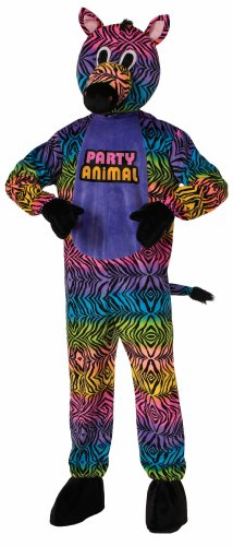 Forum Novelties Men's Party Animal Zebra Plush Mascot Costume, Multi Colored, One Size