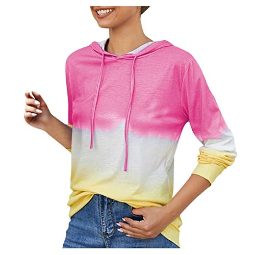 Tsmile Womens Gradient Color Sweatshirt Street Style Plus Size O-Neck Long Sleeve Contrast Hooded Tops Pullover