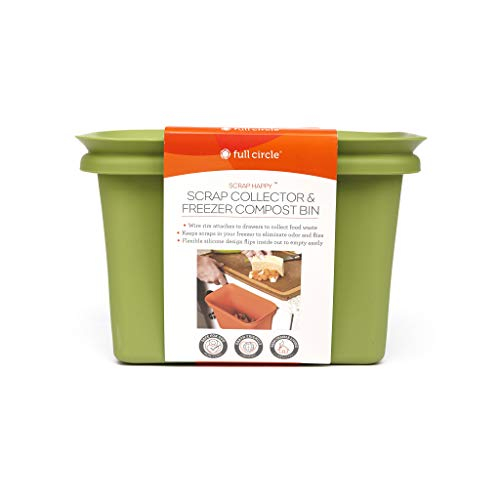 Full Circle Scrap Happy Food Scrap Collector and Freezer Compost Bin, Green