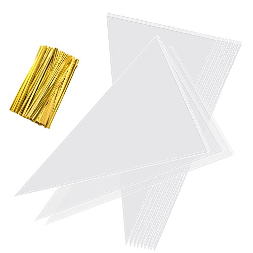 Whaline Clear Cone Bags Transparent Sweet Treat Cello Bags with 100 Gold Twist Ties for Holiday Wedding and Party, 11.8 by 6.3 Inch (100 Pieces)