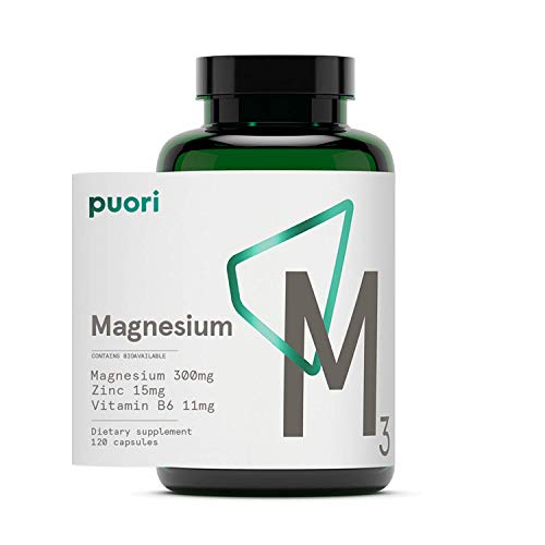 Puori Organic Magnesium Zinc Supplement - 300mg x 120 Vegan Capsules - M3 for Sleep & Immune Support, Muscle Recovery, Leg Cramps - Zinc 15mg, Vitamin B6 11mg, Malic Acid 300mg