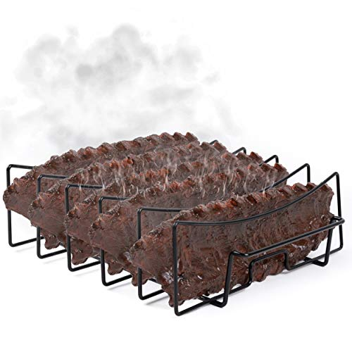 SparkIt Rib Rack for Smoking and Grilling - Non Stick Holds 5 Ribs - Full Ribs No Trimming in Half - No More Stuck Ribs! - Easy Clean with Premium Coating - Ultimate Smoker Accessory for Grill
