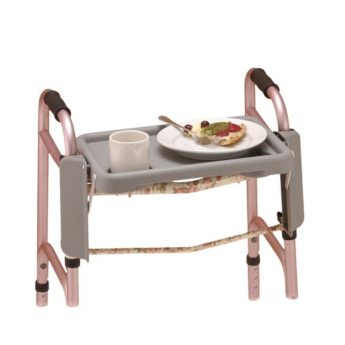 NOVA Medical Products Walker Tray with Two Cup Holders, Gray, 1 Count