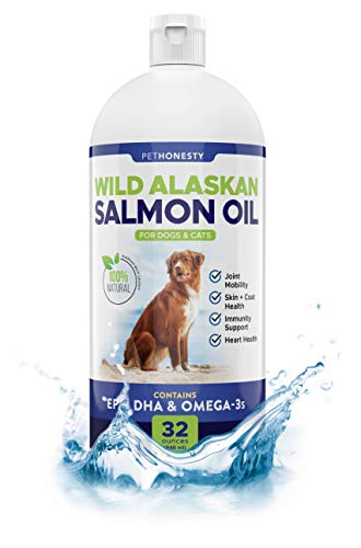 Wild Alaskan Salmon Oil for Dogs - Omega-3 for Dogs - Pet Liquid Food Supplement - EPA + DHA Fatty Acids Reduce Shedding & Itching - Supports Joints, Brain & Heart Health…
