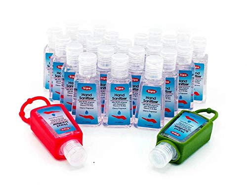 Sipa Bulk Hand Sanitizer Travel Size Bundle 1 oz (30ml, Pack of 24) 75% Ethyl Alcohol, with 2 Keychain Hand Sanitizer Bottle Holder. Protect Against Germs with Vitamin E Formula