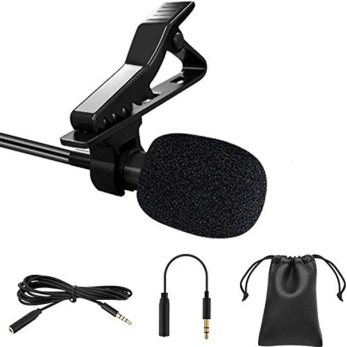 Professional Lavalier Lapel Microphone, Omnidirectional Condenser Mic for Phone/ Desktop PC Computer - Recording Mic for Youtube / Interview / Video Conference / Podcast / Voice Dictation