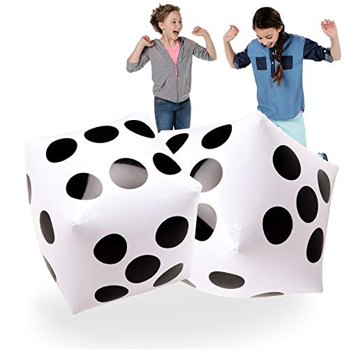 20' Jumbo Inflatable Dice 2 PCS by Novelty Place, 20 Inch White and Black Giant Dice for Indoor and Outdoor Broad Game, Ludo and Pool Party