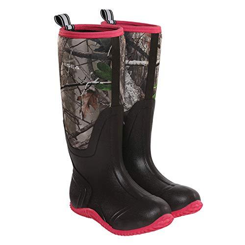 HISEA Rubber Women's Hunting Boots Waterproof Insulated Mid-Calf Rain Boots Neoprene Muck Outdoor Boots Women Camo